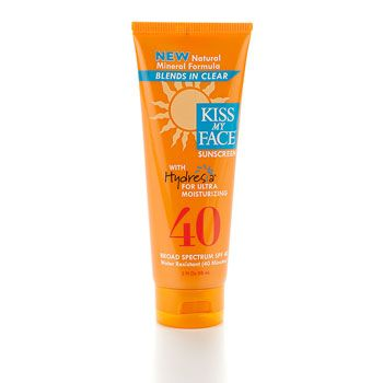 Kiss My Face Sunscreen Natural Mineral Formula SPF 40 with Hydresia - 3 oz. NEW Natural Mineral Formula. Blends In Clear with Hydresia for Ultra Moisturizing. Broad Spectrum SPF 40. Water Resistant (40 Minutes). Paraben Free. Remarkably effective, chemical-free sunscreen enriched with Hydresia oleosomes, nature's moisturizer nurtured from safflower oil. Ideal for sensitive skin and children too…