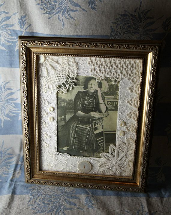 Come have a look at the beautiful work my aunt does with vintage lace, crochet and tatting! They make stunning gifts for weddings. A very unique gift for vintage doily lovers. Remember that friend you take with you to antique stores? This is for her too! Vintage Tatting Wedding Picture Frame Mat by Seamsofyesterday, $25.00