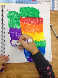 Fun way to practice spelling words: white crayon and watercolor markers over top!