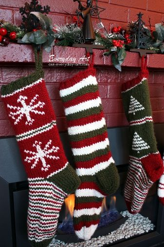 christmas knitted and red stripe crochet stocking for knitted christmas stocking