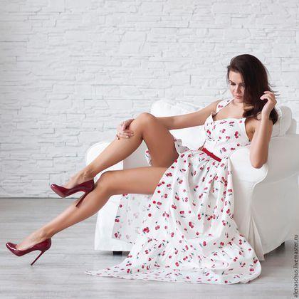 Платья ручной работы. Ярмарка Мастеров - ручная работа. Купить Платье сарафан из хлопка. Handmade. Белый, сарафан, сарафан в пол