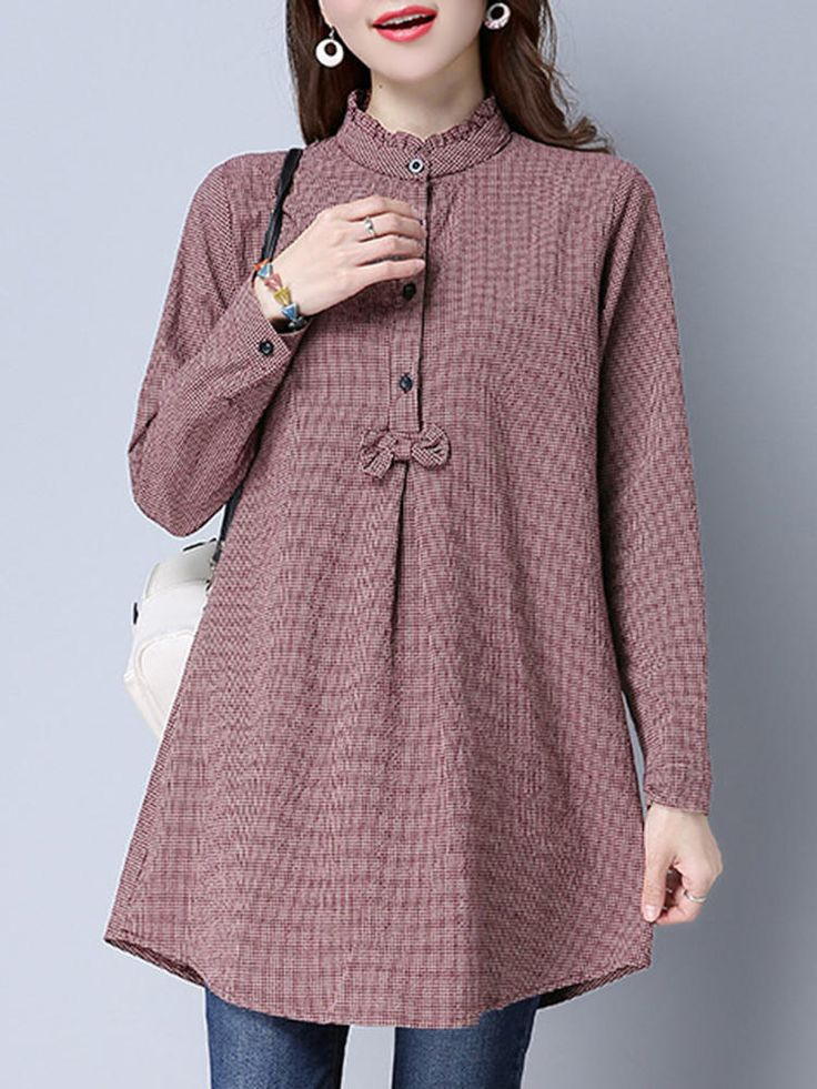 Gracila Women Plaid Bowknot Irregular Blouses - Banggood Mobile