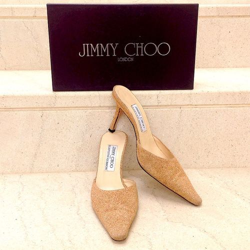 Jimmy Choo For Elspeth Gibson Beige Glitter Leather Size 8 1/2 Pointed Toe Mules. - Beige glitter leather Jimmy Choo mules with pointed toes and covered heels.
