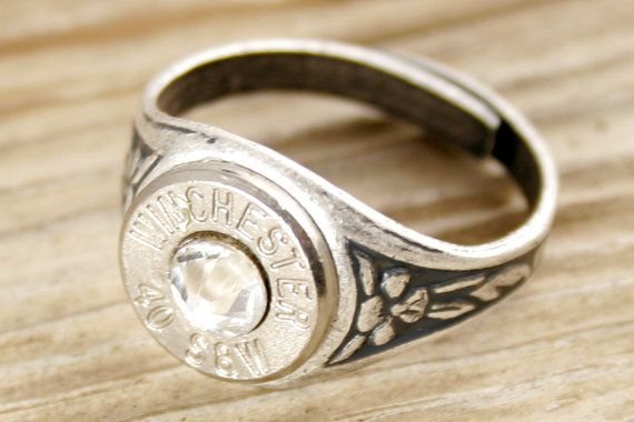 40 Caliber Antiqued Silver Adjustable Bullet Ring by BulletDesigns, $19.95