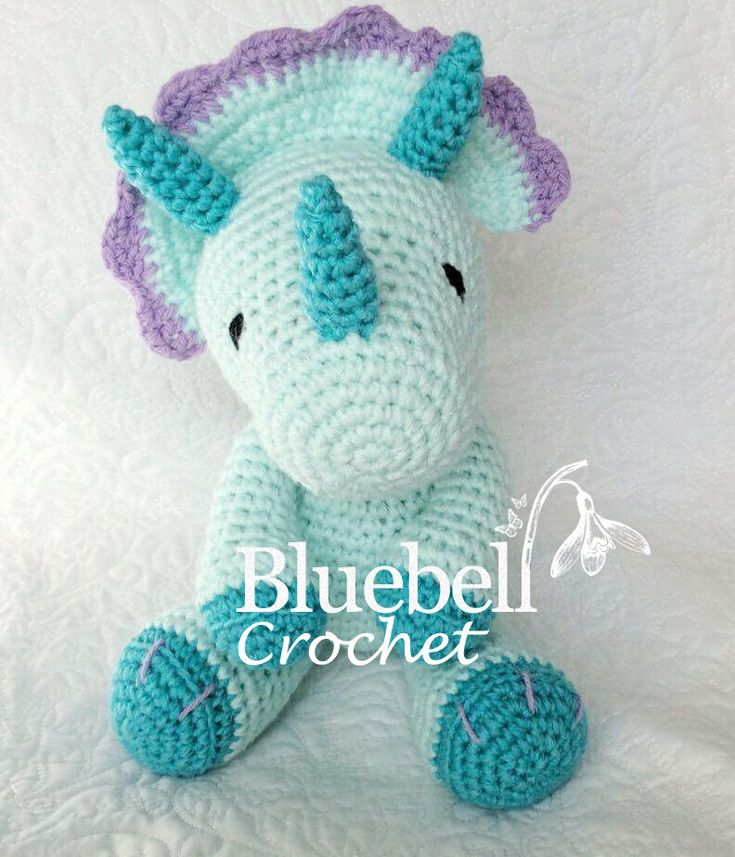 Crochet dinosaur triceratops pattern. by BluebellCrochet on Etsy https://www.etsy.com/uk/listing/472876487/crochet-dinosaur-triceratops-pattern