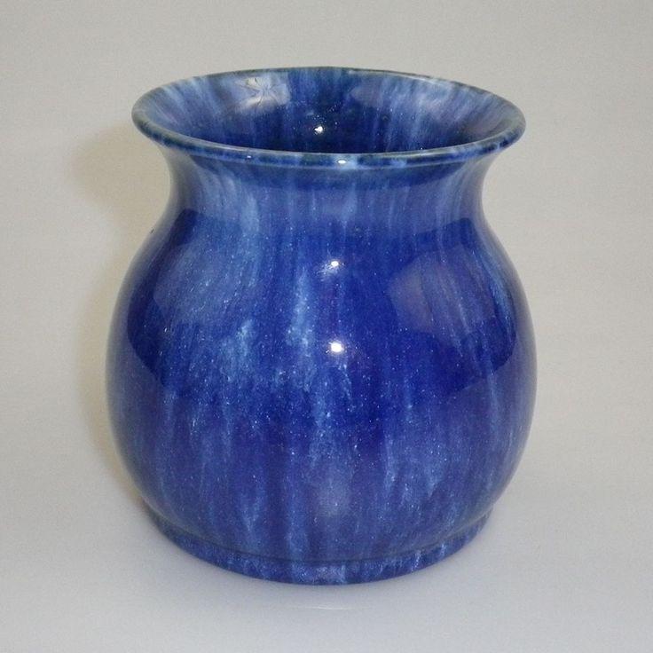 10cm x 10.5cm JOHN CAMPBELL POTTERY  VASE - SUPER BLUE GLAZE COLOUR