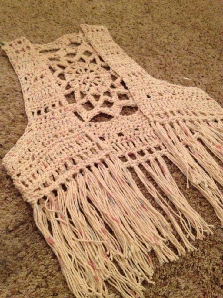 Crochet mandala fringe vest