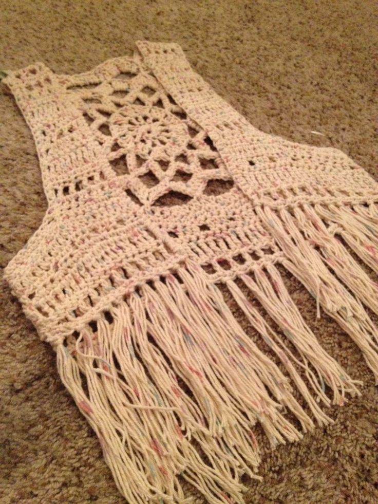 Crochet mandala fringe vest Mandala patterns Pinterest ...