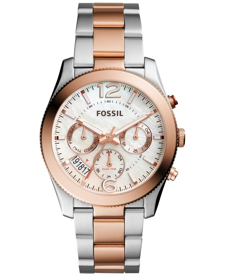 Fossil Women's Perfect Boyfriend Two-Tone Stainless Steel Bracelet Watch 39mm ES4135