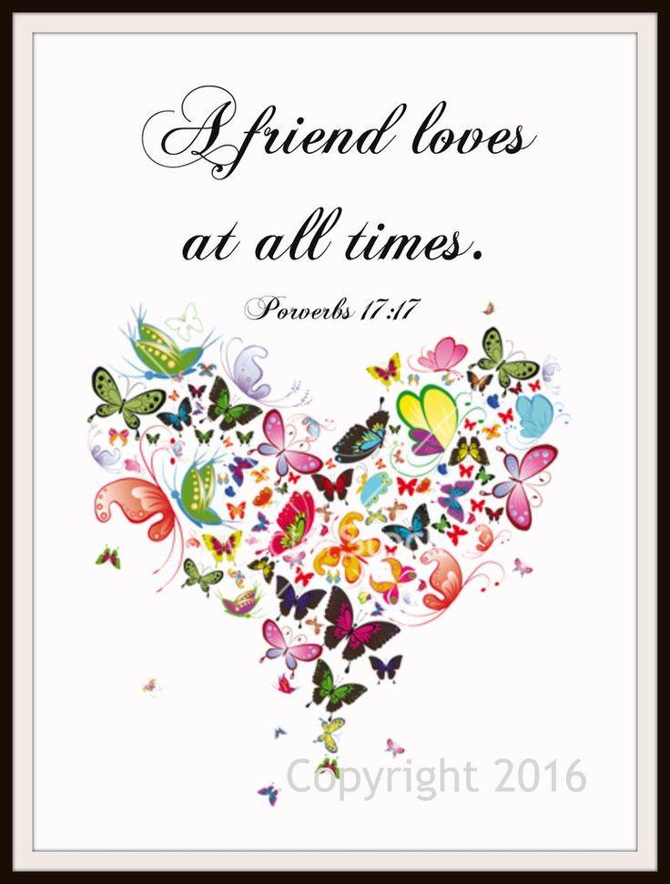 "Scripture Art Print ""A Friend Loves"", Wall Decor, 8 x 10"" Unframed Printed Art Image, Scripture Print, Motivational Quote"