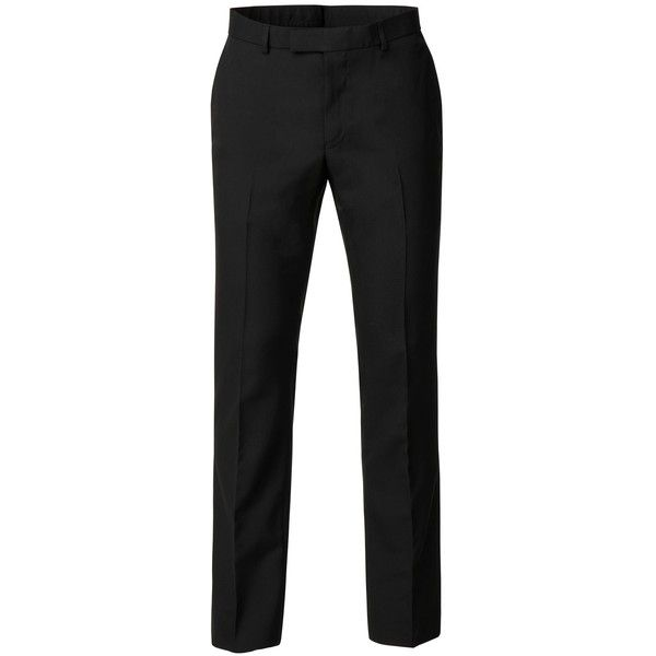 Limehaus Harry Plain Black Panama Trouser (170 BRL) ❤ liked on Polyvore featuring men's fashion, men's clothing, men's pants, men's casual pants, mens slim fit suit pants, mens polyester dress pants, mens slim fit dress pants, mens slim pants and mens slim fit pants