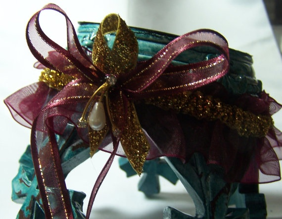 Burgundy and Gold Garter for Prom or Wedding by JBabeThings, $9.95