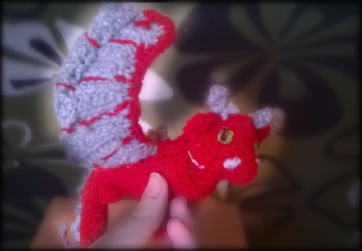 Stuffed crocheted dragon  red and grey