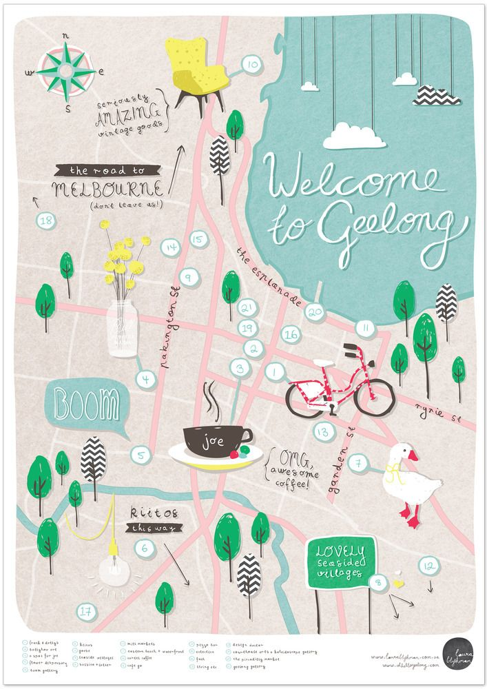 Image of 'Welcome To Geelong' - Illustrated Map Poster A2 by Laura Blythman