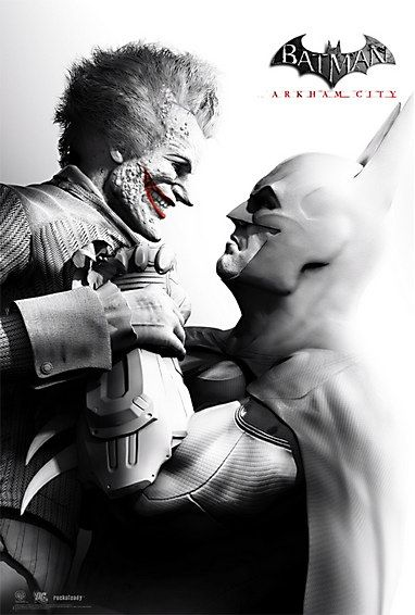 Batman: Arkham Asylum Poster - Differing from its prequel, Arkham CIty uses here black and white and red, creating a Film Noir appearance and a much more grittier style than what is usually used in superhero games.