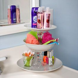 Bathroom tower using items from Dollar Tree - I think this would also be neat to use near a front door to hold things you drop off coming in or need to take with when heading out.