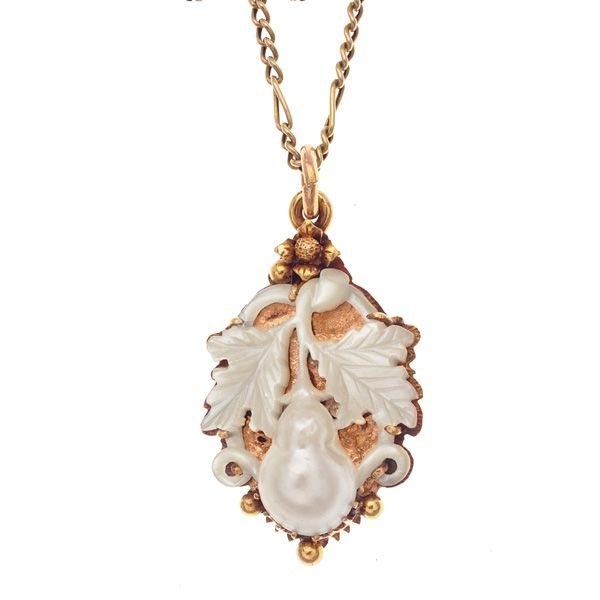 Beautiful Mother of Pearl Pendant on Gold... A Work Of Art! http://www.darlingdeco.com/antique-jewels/pendants/edwardian-carved-mother-of-pearl-pendant.html