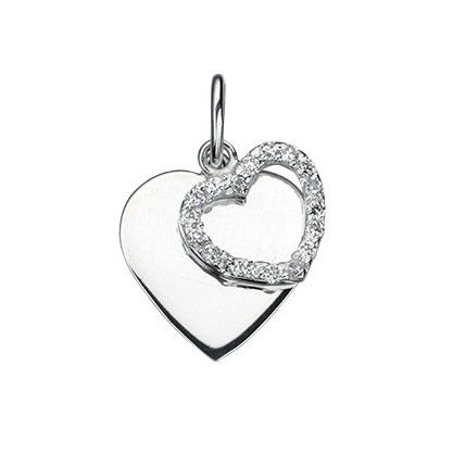 Sterling Silver Double Heart Pendant with Sparkling Cz - With a contemporary and free spirited feel, this stylish necklace from the must-have Beginnings collection is expertly crafted from 925 grade sterling silver and clear cubic zirconias: http://ow.ly/XycXb