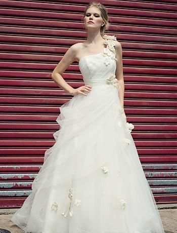 Asymmetric A-Line Wedding Dress with Natural Waist in Organza. Bridal Gown Style Number:32687311