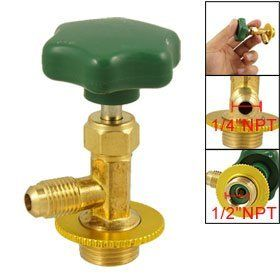 """Amico Gold Tone Brass Forged R134a Refrigerant Can Tap Valve by Amico. $8.05. Bottom Outside Thread Diameter : 1/2"""" NPT;Bottom Inner Thread Diameter : 1/4"""" PT. Material : Metal;Side Thread Diameter : 1/4"""" NPT. Total Size : 6.8 x 4.1cm/ 2.7"""" x 1.6"""" (H*W);Weight : 68g. Package : 1 x Can Tap Valve. Product Name : Can Tap Valve;Color : Green, Gold Tone. Forged brass body, strong and no leaking, specially for R134a can refrigerant. Screwer - metal body and plastic cap constructi..."""