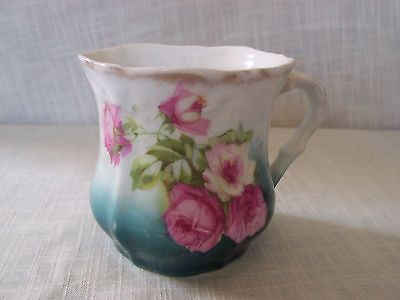 nike shoes release dates   Vintage Antique Green Pink White Rose Shaving Mug Gold Trim