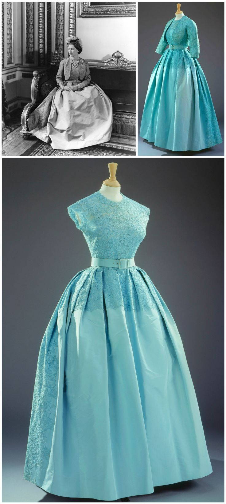 Turquoise gown with matching bolero jacket, designed by Norman Hartnell. Worn by H.M. Queen Elizabeth II to the wedding of her sister, H.R.H. Princess Margaret, in 1960. Photos: Royal Collection Trust/Her Majesty Queen Elizabeth II 2016. Photo of Queen Elizabeth by Cecil Beaton. CLICK FOR LARGER IMAGES.