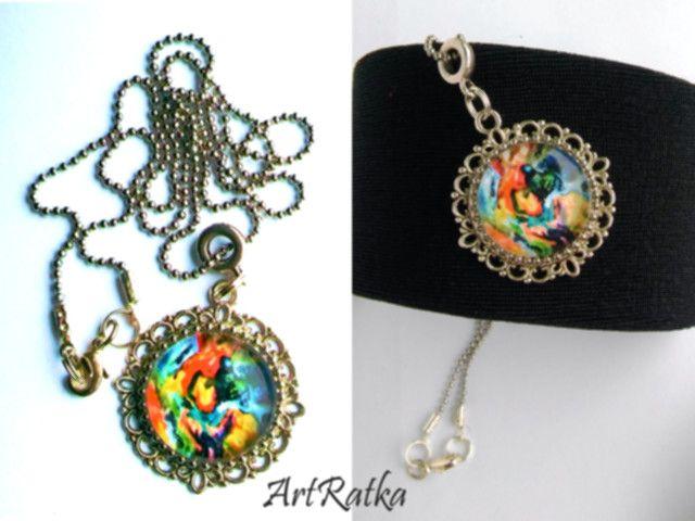 Naszyjnik - medalion z kaboszonem oraz grafiką - ArtRatka - Medaliony