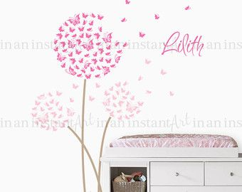 Dandelion Wall Decal | Custom Color With Butterflies | Custom Baby Nursery,  Childrenu0027s Room Interior Design | Easy Squeegee Application 034