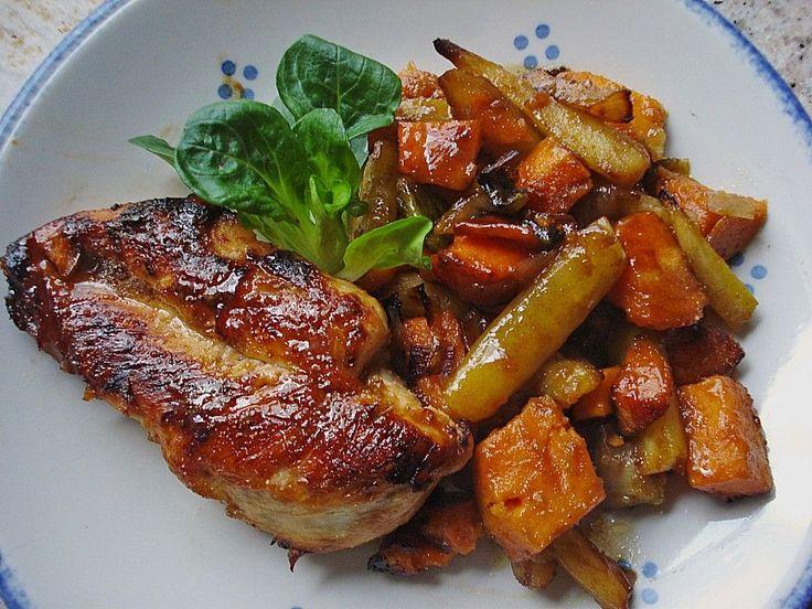 Senf - Honig - Hühnchen mit geröstetem Gemüse