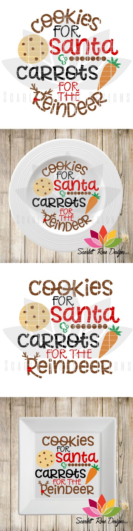 Santa Cookie Plate SVG cut file in circle and square templates