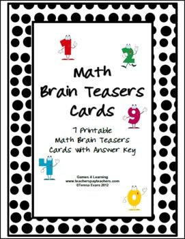 FREEBIE! Printable Math Problems and Math Brain Teasers Cards from Games 4 Learning -This set contains 7 Math Brain Teaser Cards. There are a variety of brain teaser styles in this collection. It includes printable math brain teasers for kids to solve individually, in pairs or in groups.