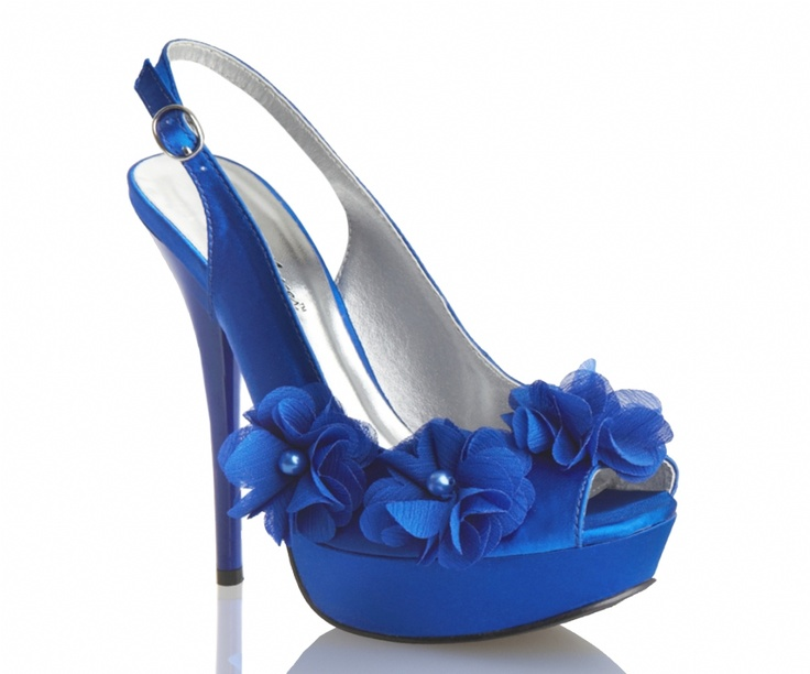 Royal Blue Allure Glass Bridal Shoes Sweet Sling Back Sandals Wi