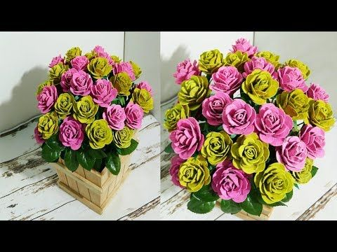 DIY Beautiful Roses from Upcycled Egg Carton Box - DrNGO - YouTube