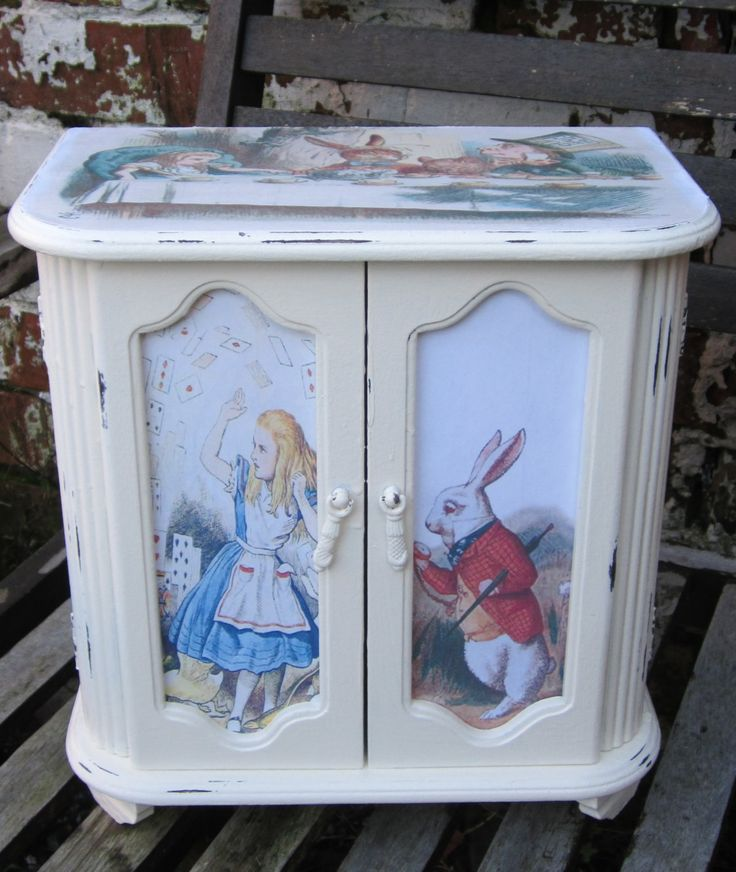 Shabby Chic Jewellery Box - Alice In Wonderland- Upcycled by TheSecretCabinet on Etsy
