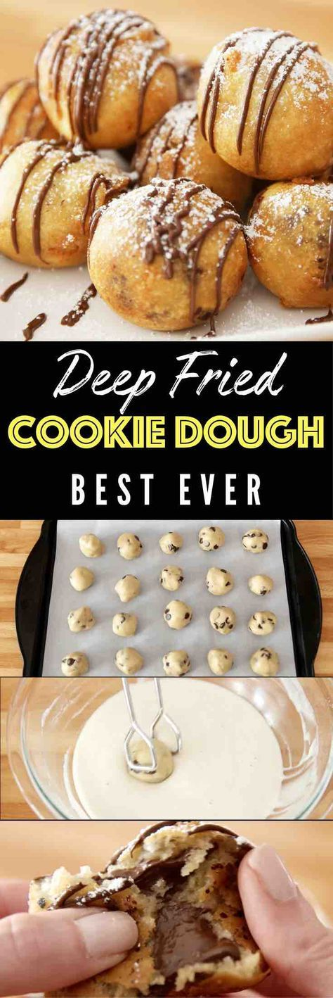 Deep Fried Cookie Dough – OMG seriously the best dessert ever! Enjoyed the deep-fried cookie dough awesomeness of the state fair all year round. Chocolate chip cookie dough dipped in homemade batter, and fried to a fluffy, golden crispy ball with a warm and melty chocolate chips inside. Quick and easy recipe. Perfect for party desserts. No bake, vegetarian. Video recipe. | Tipbuzz.com