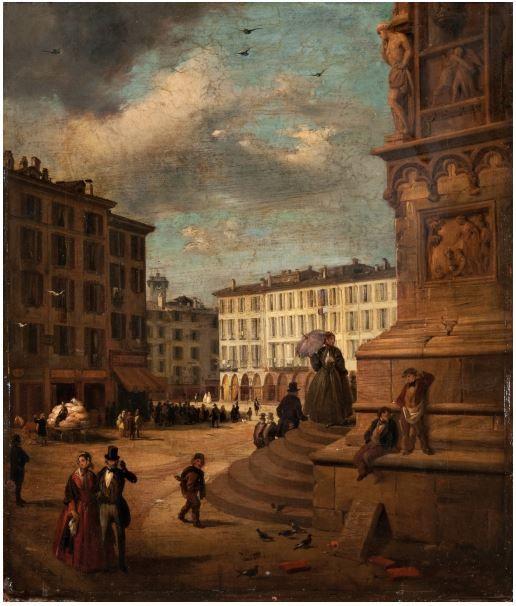 Angelo Inganni (1807 – 1880) - Veduta di Piazza del Duomo dall'angolo di Palazzo Reale (1868)