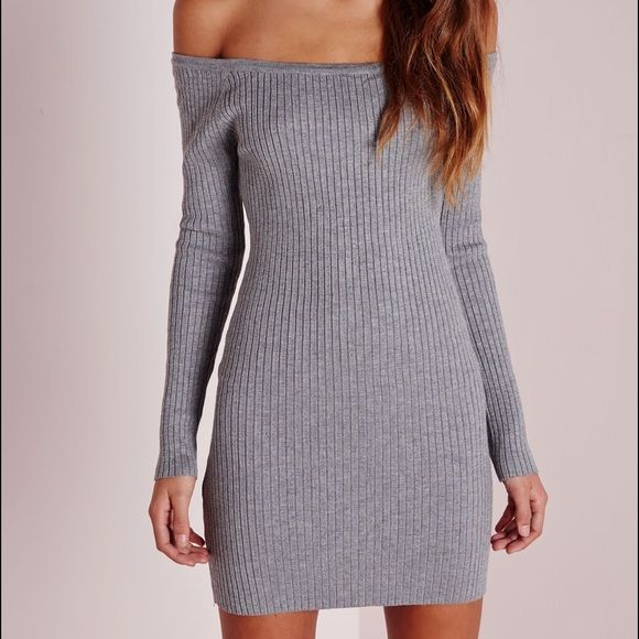 Misguided dress Long sleeve off the shoulder ribbed dress Misguided Dresses Mini