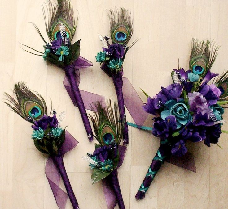 Wedding Flowers Peacock Feathers Bridal Bouquet Boutonnieres Package 15 Pieces Purple Teal @Alaina Myers