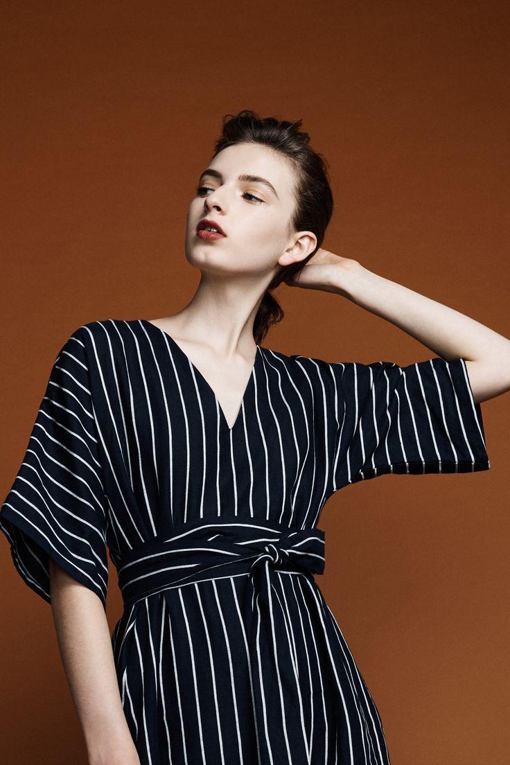 Kyoto Dress - Navy Pinstripe