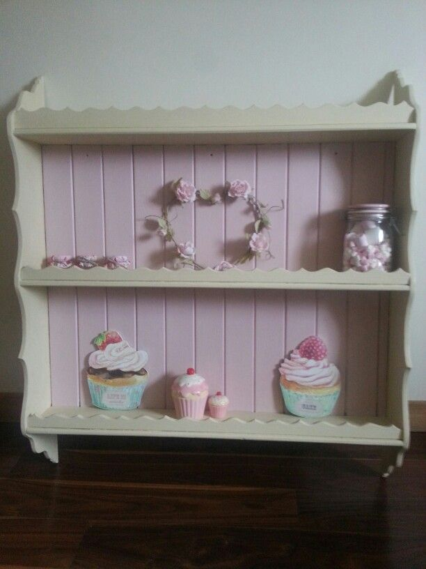 Shabby chic hand painted pine kitchen shelf, painted in Cream and Antionette Annie Sloan. Very pretty just love the colours. Sold Gumtree. Colourmefurniture.