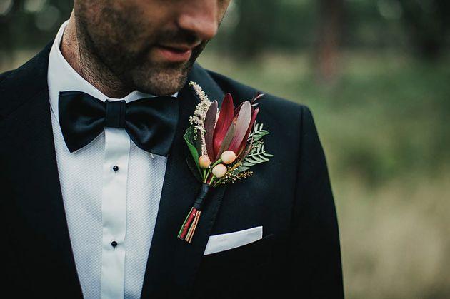 Native buttonhole, Groom, Grooms flowers, Native flowers, pale pink, peach and burgundy, Photography: Dan Brannan Florist: Naomi Rose Floral Design