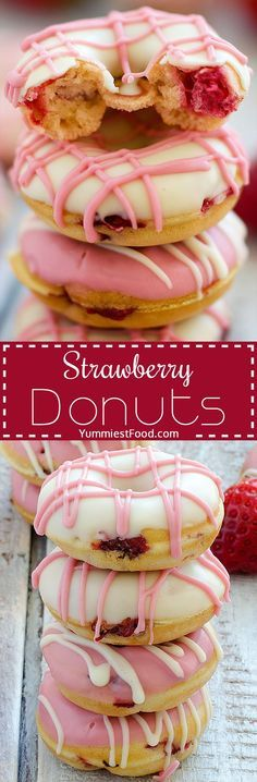 Strawberry Donuts - quick, easy and so soft with few ingredients you have at home! Try to make them, and your family will enjoy in these strawberry donuts!