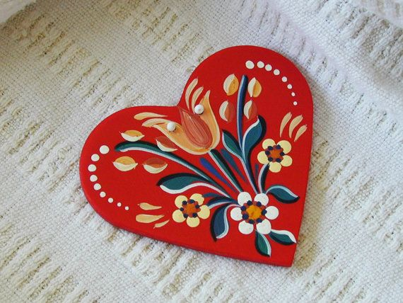 Spring Blooms - Series 01.2 - red, handpainted wood laminate heart inspired by traditional, historic Transylvanian style
