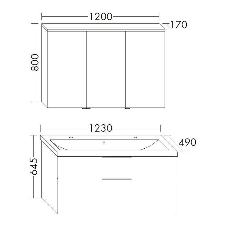 Burgbad Eqio Badmöbel Set mit Waschtisch, Unterschrank und Spiegelschrank Skizze - 350px x 350px