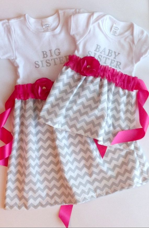 Sister matching dresses, big sister little sister, customized dress, gift set, personalized sibling outfits, skirt and shirt sets