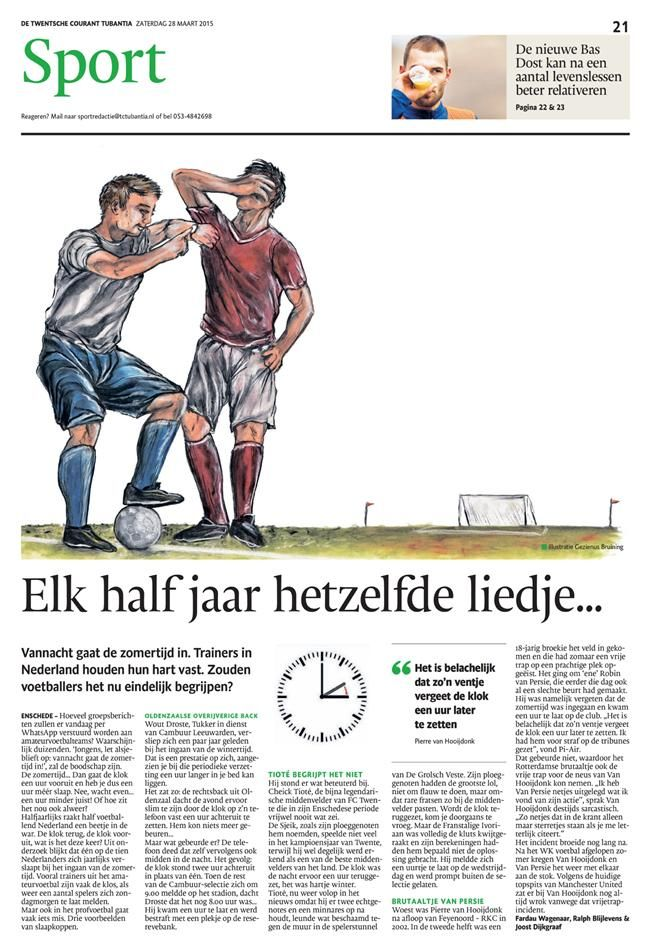 Daylight saving time mistakes in sports. Illustration Gezienus Bruining