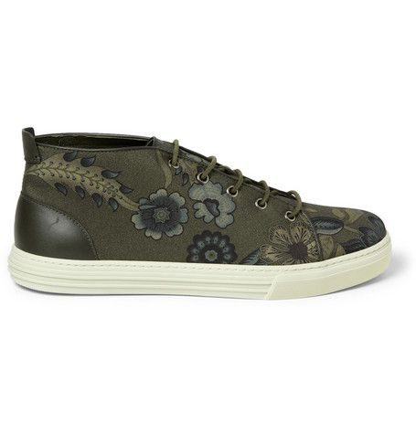 Gucci Leather-Trimmed Flower-Print Canvas Sneakers | MR PORTER