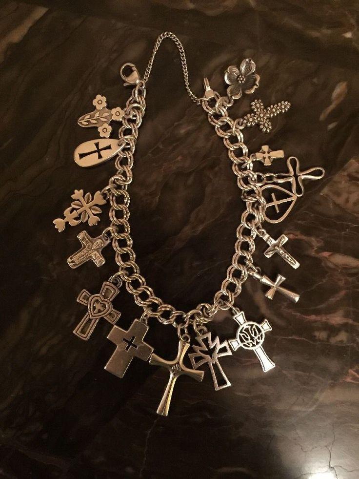James Avery Sterling Silver Cross Charm Bracelet W/ 16 Retired/New Charms #JamesAvery
