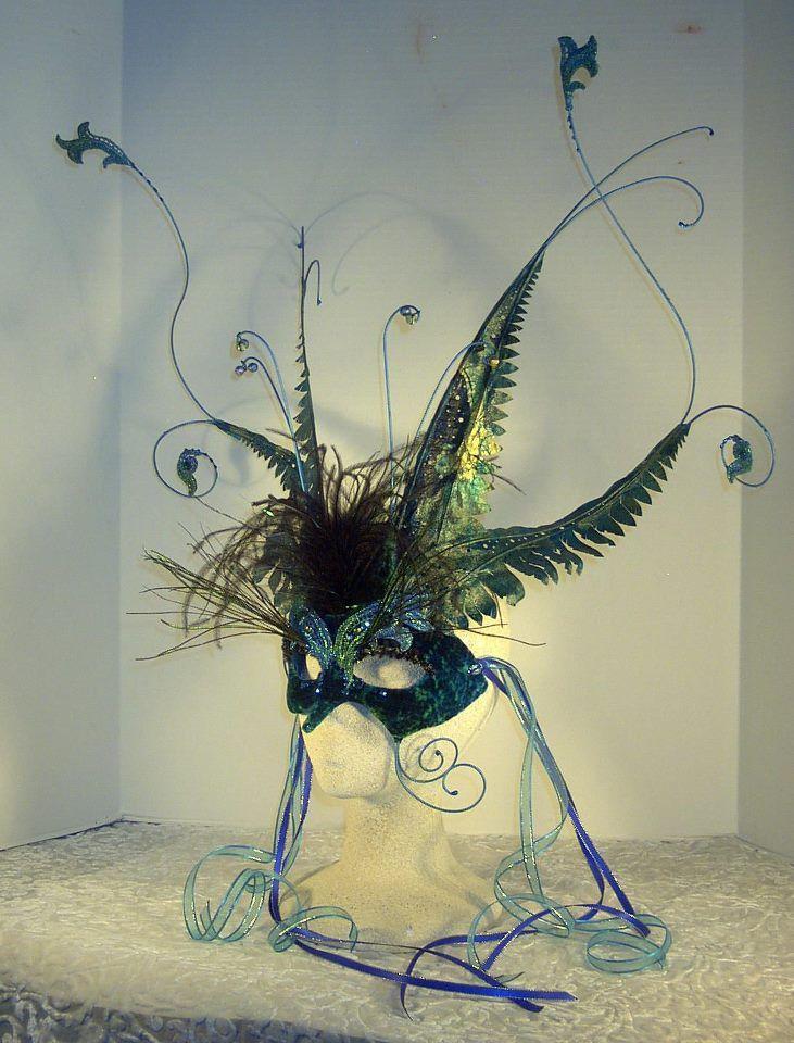 blue peacock mask masquerade
