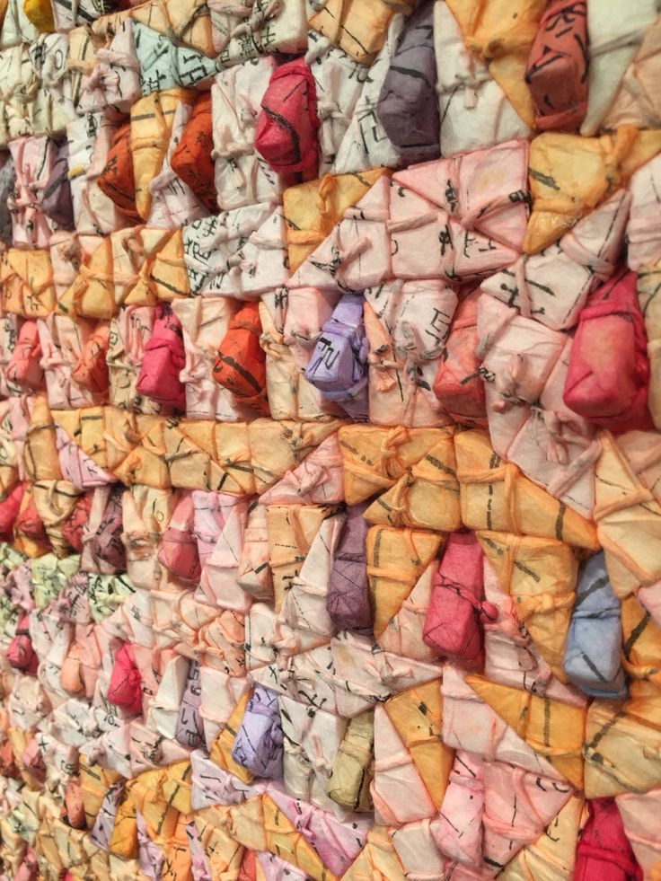 Kwang Young Sun amazing mulberry paper wrapped, hand dyed triangle pieces at the Dovecot in Edinburgh
